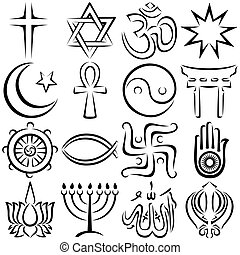 Set of 16 religious symbols executed in line art.