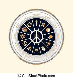 Religious symbols of the world - A circle of religious...