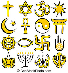Religious Symbols - Set of 16 religious symbols, executed in...