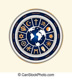 Religious Symbols World - A circle of religious symbols....