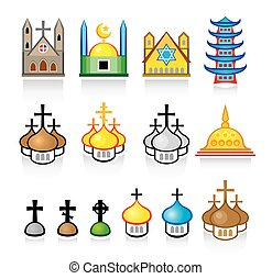 Religious Temples and Worship Places vector icon set EPS-8