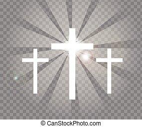 Religious three crosses with sun rays