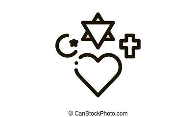 religious tolerance Icon Animation. black religious tolerance animated icon on white background