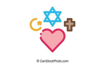 religious tolerance Icon Animation. color religious tolerance animated icon on white background