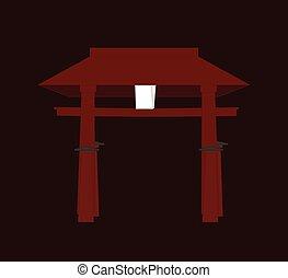 Religious Torii Gate Vector Illustration