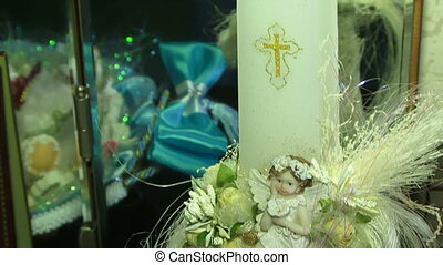 Religious toys - Beautiful religious candle and toy angels....