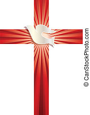 Religious vector symbol. Christian cross with dove and luminous rays on red background