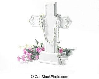 Religious-White Cross - White cross, white rosary beads and...