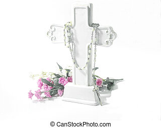 Religious-White Cross - White cross, white rosary beads and...