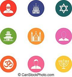 Religious zealot icons set, flat style - Religious zealot...