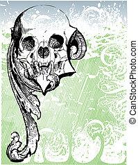 relique, vampire, illustration, crâne