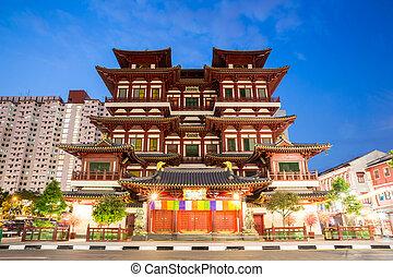 reliquia, anochecer, singapur, diente, buddha, templo