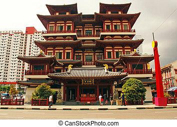 reliquia, chinatown, singapur, diente, buddha, templo
