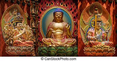 reliquia, collage, diente, buddha, señor, templo