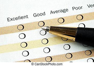 relleno, en, el, satisfacción del cliente, encuesta