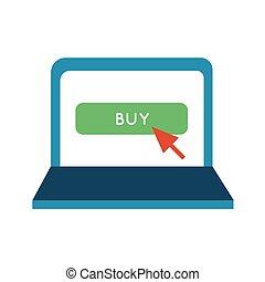 relleno, estilo, comprar, icono, botón, línea, computador portatil