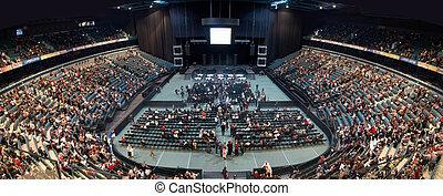 relleno, gente, sala de conciertos