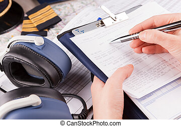 relleno, plan vuelo, piloto del aeroplano