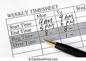 relleno, semanalmente, hoja, tiempo