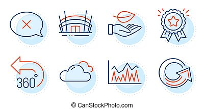 Reload, 360 degrees and Investment icons set. Reject, Leaf and Loyalty award signs. Vector