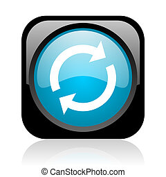 reload black and blue square web glossy icon