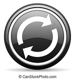reload black glossy icon on white background