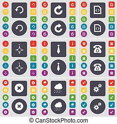 Reload, File, Compass, Tie, Retro phone, Stop, Cloud, Gear icon symbol. A large set of flat, colored buttons for your design. Vector