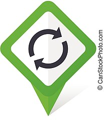 Reload green square pointer vector icon in eps 10 on white background with shadow.