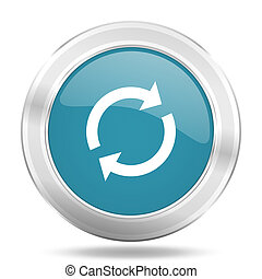 reload icon, blue round glossy metallic button, web and mobile app design illustration