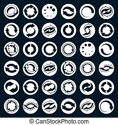 Reload icons vector set, loop arrows, refresh, web theme simpli