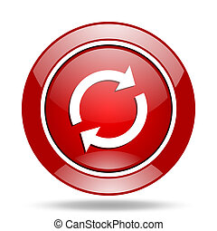 reload red web glossy round icon