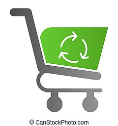 Reload shopping trolley flat icon. Reload shopping basket vector illustration isolated on white. Market cart refreshing gradient style design, designed for web and app. Eps 10.
