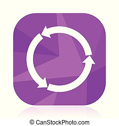 Reload vector icon. Circle violet web button. Recycle internet square sign. Recycling modern design symbol in eps 10.