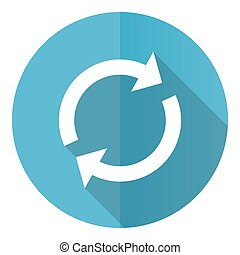 Reload vector icon, flat design blue round web button isolated on white background