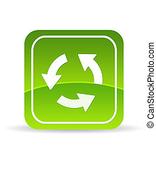 reload, vert, icône