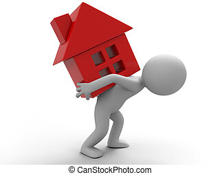 relocate - A man carrying a house