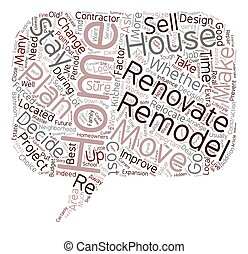 Relocate or Renovate text background wordcloud concept