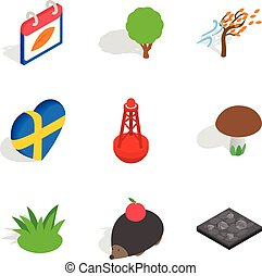Relocate the animal icons set. Isometric set of 9 relocate the animal vector icons for web isolated on white background