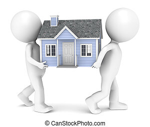3D little human character X2 carrying a house. People series.