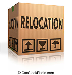 relocation box cardboard brown package with text moving icon