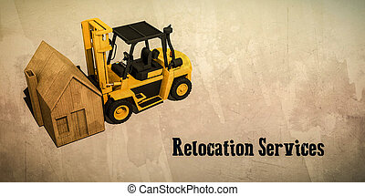 relocation services - 3d illustration of a forklift for...