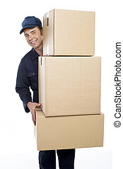 Relocation staff carrying cardboard boxes isolated against...