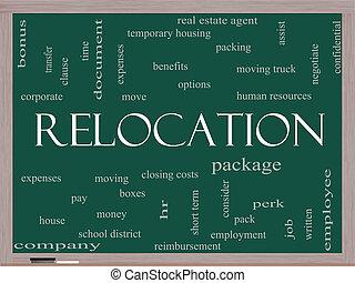 relocation, szó, felhő, fogalom, képben látható, egy, tábla