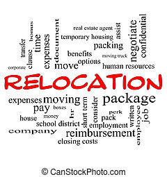 Relocation Word Cloud Concept in red caps