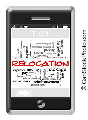 Relocation Word Cloud Concept on Touchscreen Phone -...