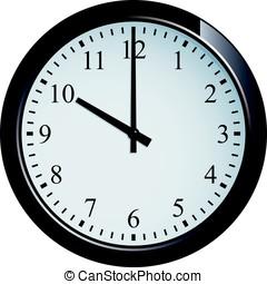 reloj, 10, pared, conjunto, punto