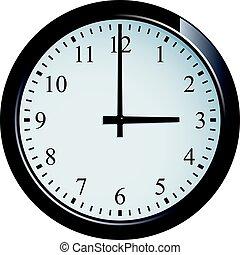 reloj, 3, pared, conjunto, punto