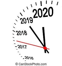 reloj, año, nuevo, 2020