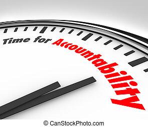 reloj, accountability, responsabilidad, toma, palabras, tiempo