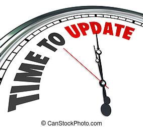 reloj, actualización, mejora, renovar, palabras, tiempo